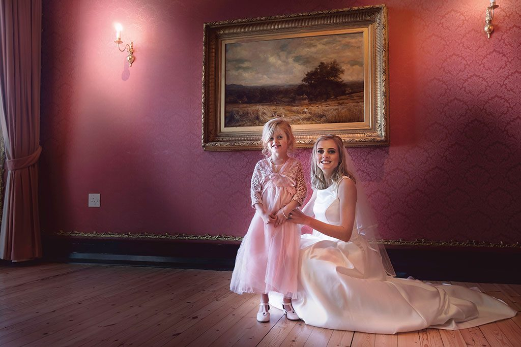 Garden Route Wedding Photograph of bride and flower girl