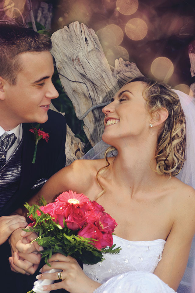Garden Route Wedding Photograph of bride and groom in nature