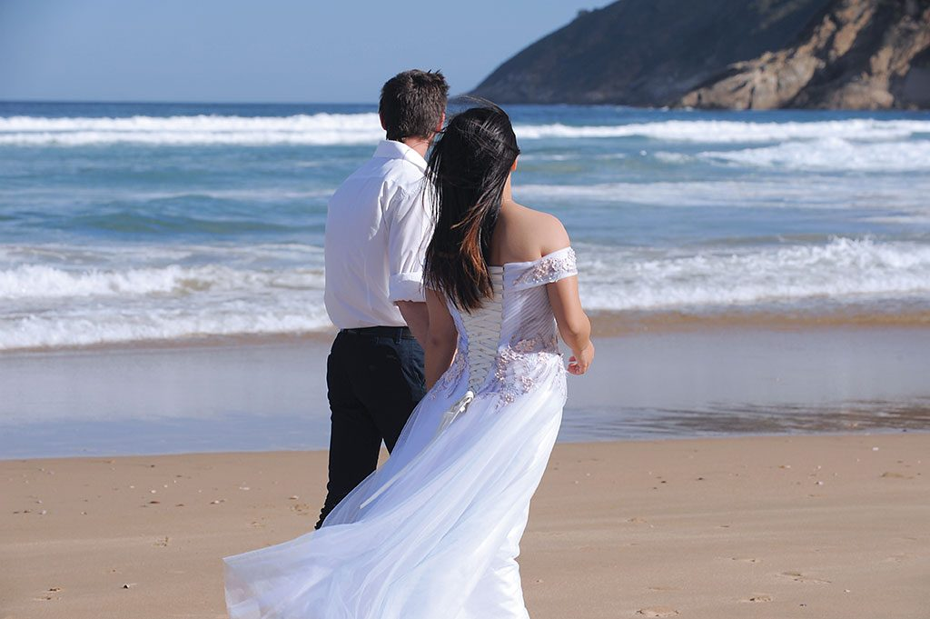 Garden Route Wedding Photograph of couple on beach