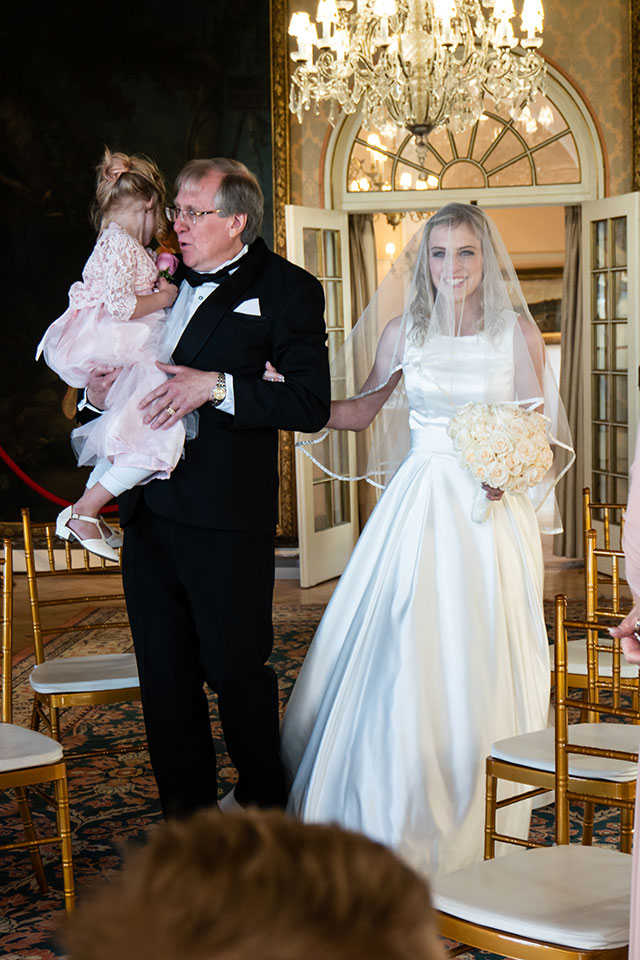 Wedding Photo of bride and father walking down the aisle