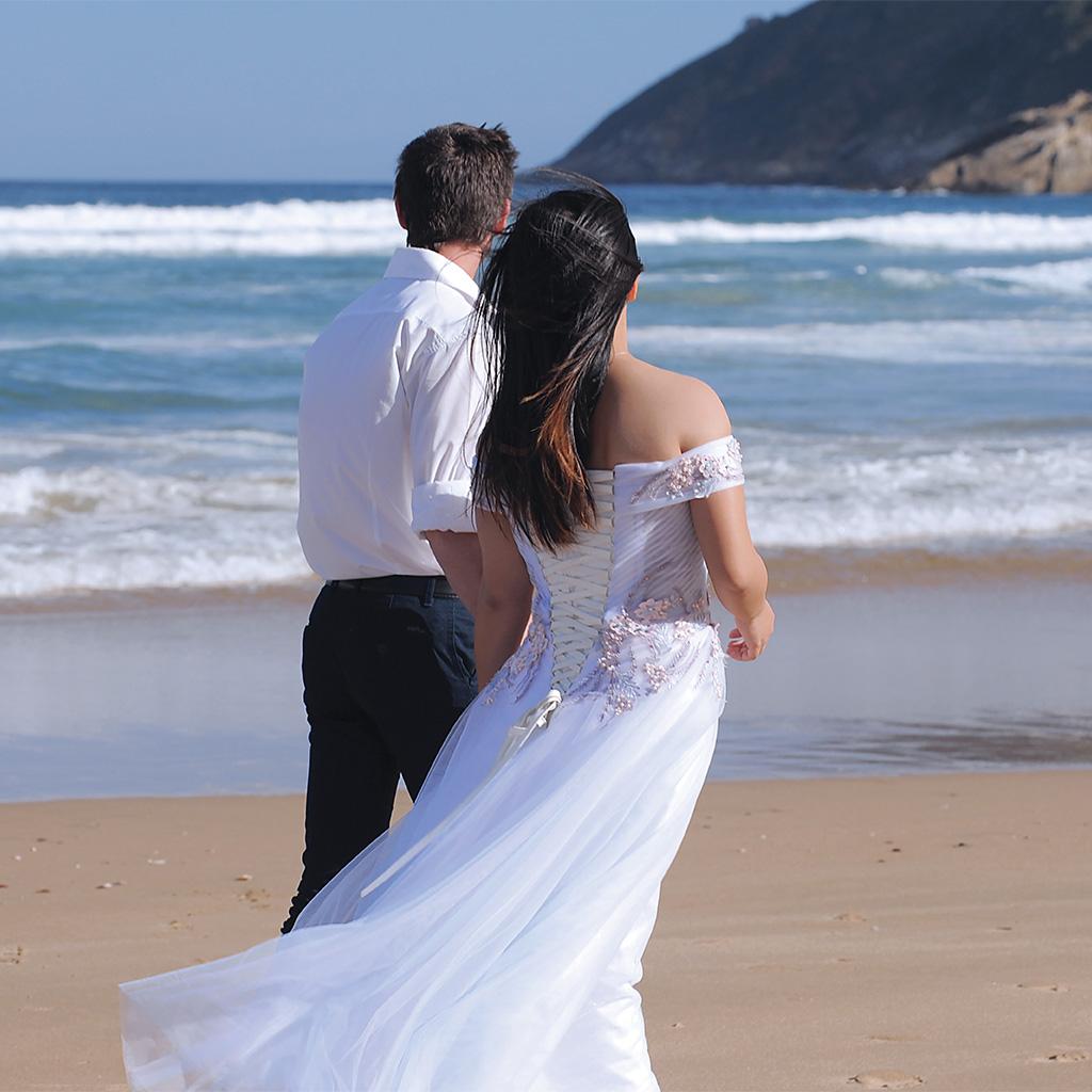 wedding photo of couple on beach
